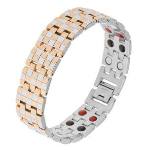 Lesklý náramek z oceli, zlatá a stříbrná barva, vzor šachovnice, magnety