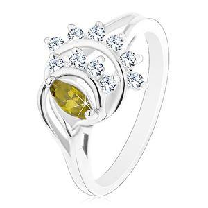 Lesklý prsten, oblouky lemované liniemi čirých zirkonků, zelené zrnko - Velikost: 49