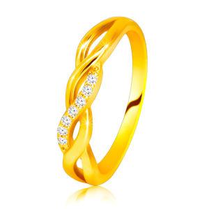 Lesklý prsten ze 14K žlutého zlata - propletené vlnky, briliantová linie - Velikost: 49