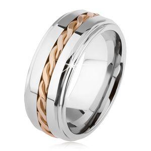Lesklý wolframový prsten, postříbřený, vyvýšená středová část, pletený vzor - Velikost: 59