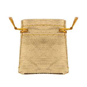 Malý látkový sáček na dárek, třpytivý zlatý odstín, šňůrky na zavázání