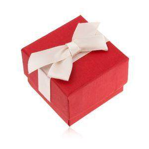 Matná červená krabička na prsten, přívěsek a náušnice, krémová mašle