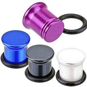 Metalický plug do ucha z akrylu - perleťové barvy - Tloušťka : 2,5 mm, Barva: Bílá