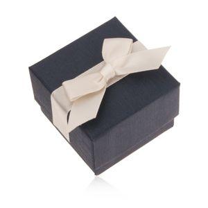 Modrá dárková krabička na prsten, přívěsek a náušnice, krémová mašle
