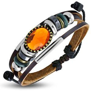 Multináramek - hnědé pásy kůže, různobarevné korálky, oranžová ozdoba