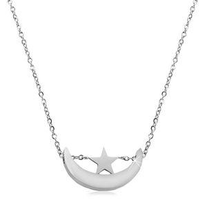 Náhrdelník stříbrné barvy, chirurgická ocel, lesklý srpek měsíce a hvězdička