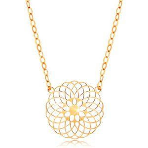 Náhrdelník ve žlutém 14K zlatě - kulatý vyřezávaný květ, lesklý řetízek