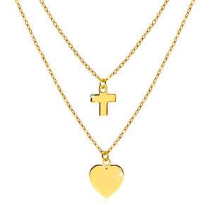 Náhrdelník ve žlutém 14K zlatě - lesklé symetrické srdíčko a kontura křížku