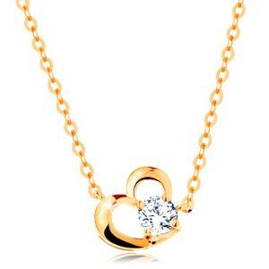 Náhrdelník ve žlutém 14K zlatě - obrys asymetrického srdce, čirý zirkon