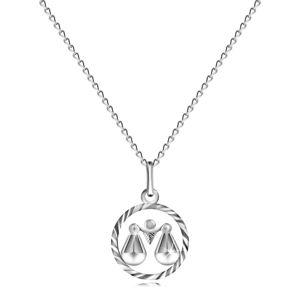 """Náhrdelník ze stříbra 925, řetízek a znamení """"VÁHY"""""""