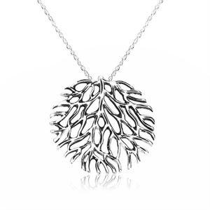 Náhrdelník ze stříbra 925 - rozvětvený korál s patinou, spirálovitý řetízek