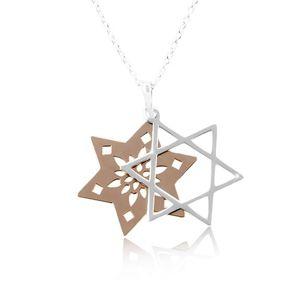 Náhrdelník ze stříbra 925, zdvojená hvězda s výřezy, měděná a stříbrná barva