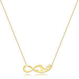 Náhrdelník ze žlutého zlata 585 - jemný řetízek, symbol nekonečna, nápis MOM