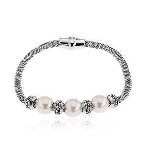 Náramek na ruku z oceli, perleťové korálky, kolečka, stříbrná barva