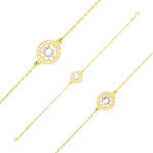 Náramek v kombinovaném zlatě 375 - vyřezávaný kvítek a zirkonový prstenec