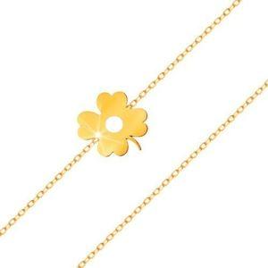 Náramek ve žlutém 14K zlatě - čtyřlístek s výřezem, tenký řetízek