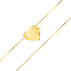 Náramek ve žlutém 14K zlatě - malé souměrné ploché srdce, jemný řetízek