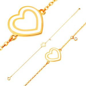 Náramek ve žlutém 14K zlatě, přívěsky - srdce s bílou glazurou, zirkon