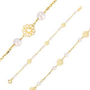 Náramek ve žlutém zlatě 585 - ornamentálně vyřezávané kvítky, perly