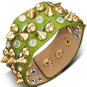 Náramek vyrobený z kůže - zelený s hrotem, polokoulí a kamenem