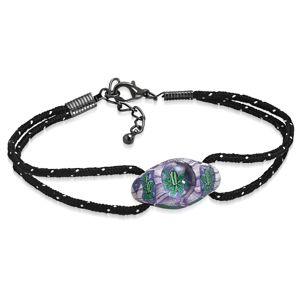 Náramek z černých šňůrek a oválného FIMO korálku, fialovo-zelené květy - Délka: 180 mm