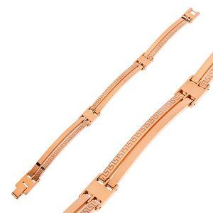 Náramek z chirurgické oceli měděné barvy, úzké články s řeckým klíčem
