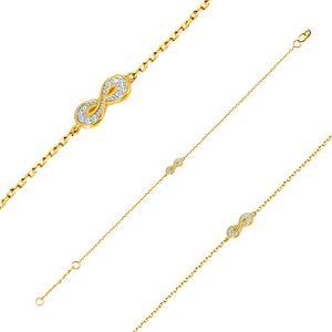 Náramek ze zlata 585 - symbol nekonečna s drobnými kulatými zirkony