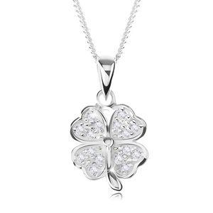 Nastavitelný náhrdelník - stříbro 925, čtyřlístek zdobený čirými zirkony
