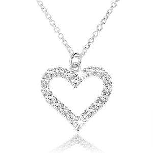Nastavitelný náhrdelník ze stříbra 925, zirkonová kontura souměrného srdce