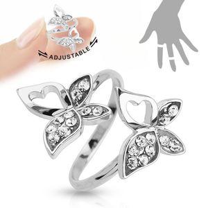 Nastavitelný prsten, stříbrná barva, motýlci, čiré zirkony, výřezy