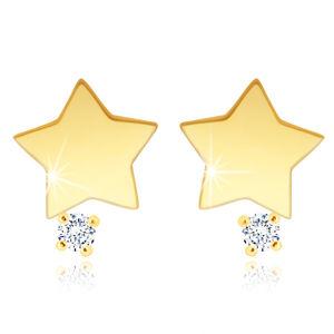Náušnice v 9K žlutém zlatě - hvězdička s čirým zirkonem