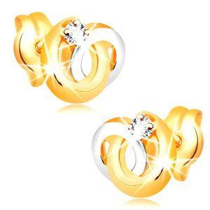 Náušnice ve 14K zlatě - dvoubarevné propojené prstence, zářivý čirý briliant