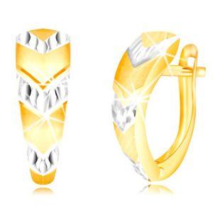 Náušnice ve zlatě 585 - atypický oblouk, šipky v bílém zlatě, ruský patent