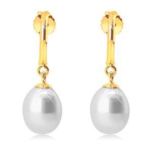 Náušnice ve žlutém 14K zlatě - úzký lesklý oblouk, bílá perlová kapka
