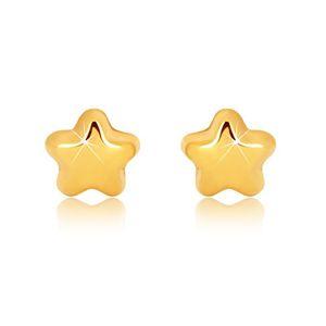 Náušnice ve žlutém 9K zlatě - zrcadlově lesklá hvězdička s pěti cípy, puzetky
