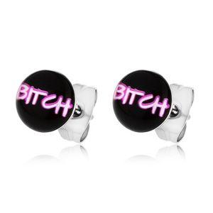 """Náušnice z chirurgické oceli, nápis """"BITCH"""" na černém podkladu"""