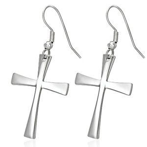 Náušnice z chirurgické oceli s křížem, stříbrná barva, háčky