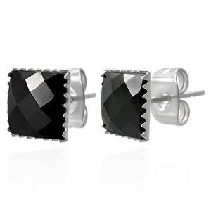 Náušnice z oceli 316L - černý broušený zirkonový čtverec, 9 mm