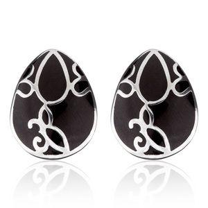Náušnice z oceli - černá slza s ornamentem