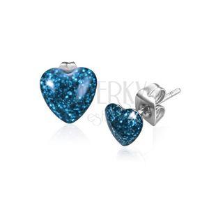 Náušnice z oceli, symetrické třpytivé srdce modré barvy
