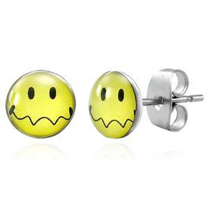 Náušnice z oceli - žlutý smajlík se zvlněnými ústy, puzetky
