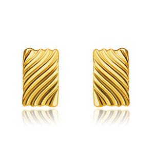 Náušnice ze 14K zlata - obdélníky s příčně vyřezávanými vlnkami, puzetky