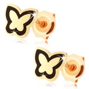 Náušnice ze zlata 375 - lesklý plochý motýlek, obrys z černé glazury