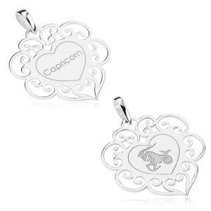 Oboustranný přívěsek, stříbro 925, znamení KOZOROH, srdce s filigránem