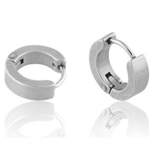 Ocelové náušnice - neúplné kruhy ve stříbrné barvě, lesklý povrch, bez vzoru
