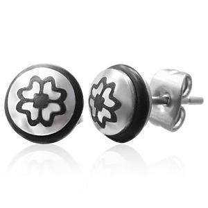 Ocelové náušnice se symbolem čtyřlístku a s černou gumičkou