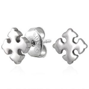 Ocelové náušnice stříbrné barvy - lesklý liliový křížek, puzetky