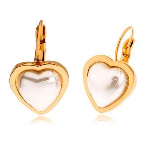Ocelové náušnice zlaté barvy, perleťově bílý kamínek ve tvaru srdce