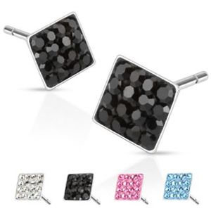 Ocelové náušničky - čtverečky se vsazenými zirkony, 6 mm - Barva: Černá