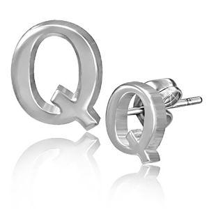 Ocelové puzetové náušnice - hladké písmeno Q